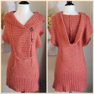 Free People ~ Orange Wool Hooded Tunic Sweater ~ L